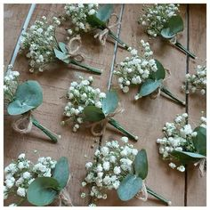 Gypsophilia gents buttonholes for a wedding with string bow detailing Wedding Flower Decorations, Diy Wedding Flowers, Wedding Flower Arrangements, Bridal Flowers, Flower Bouquet Wedding, Floral Wedding, Rustic Wedding, Our Wedding, Dream Wedding