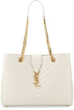 Saint Laurent Monogramme Matelasse Shopper Bag, White, White YSL bag http://www.shopstyle.com/action/loadRetailerProductPage?id=469499993&pid=uid7609-25959603-56