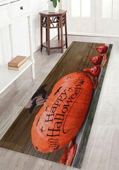 halloween decor ideas:Halloween Pumpkin Wood Pattern Indoor Oudoor Area Rug