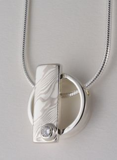 Custom: Palladium White Gold and Sterling Silver Mokume Gane Accent Pendant Bezel Set Round Diamond