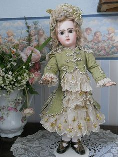 ~~~ Most Beautiful French Antique Silk Dress with Pretty Bonnet ~~~ from whendreamscometrue on Ruby Lane