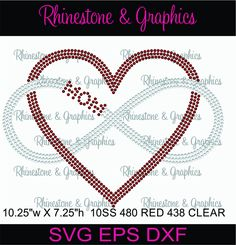 Mom Heart Infinity Rhinestone Pattern Instant Download Svg, Eps, Cutting files by RhinestoneandGraphic on Etsy