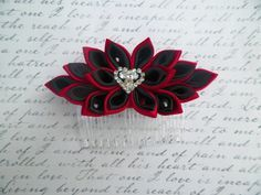 Black and Red Kanzashi Satin Flower Hair Comb