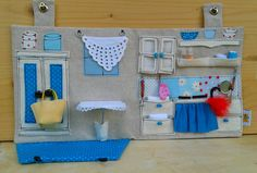 Sewed Dollhouse with Miniature Accessories / Travel Dollhouse / OOAK Portable Fabric Dollhouse