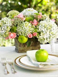 Sandra Kaminski  #fruit & flowers #wedding flowers #hydrangea #rustic vase #place setting