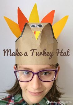 This turkey hat is so festive and lots of fun to make! This would be a great Thanksgiving party craft for the classroom or home. #kindergarten #preschool #iteachk #iteachtoo #teachersfollowteachers