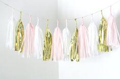 Gold Blush Pink White Tassel Garland  Nursery Decor by pomtree