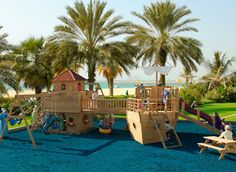What fun! Two play sets combined with swing sets and lots of extras make this Happy Landing Harbor Playset from Play Mor.