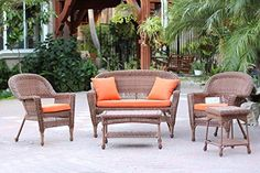 5Piece Honey Wicker Patio Chair Loveseat  Table Furniture Set  Orange Cushions * Want additional info? Click on the image.  This link participates in Amazon Service LLC Associates Program, a program designed to let participant earn advertising fees by advertising and linking to Amazon.com.