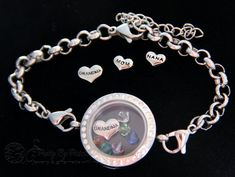 Grandmother Bracelet Glass Locket with floating birthstones for all her grandchildren-MOM NANA charm options-Perfect gift for Mother's Day by PrettyByPriscilla