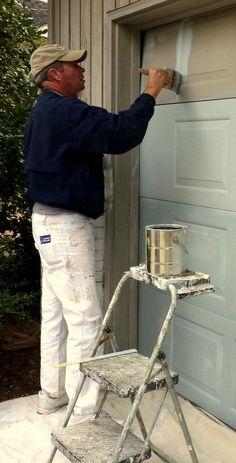 DIY Home Staging Tips: Overhead Garage Door Re-Paint. Operate your newly painted door with a #Chamberlain #garagedooropener www.Chamberlain.com