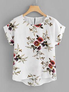 Shop Plus Floral Print Cut Out Back Asymmetrical Hem Blouse online. SHEIN offers Plus Floral Print Cut Out Back Asymmetrical Hem Blouse & more to fit your fashionable needs. Floral Blouse, Printed Blouse, Floral Tops, Floral Prints, Floral Fabric, Plus Size Blouses, Plus Size Tops, Plus Size Women, Plus Size Clothing Stores