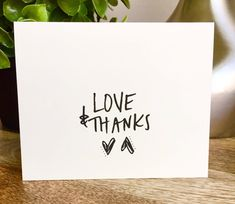 Set of 10 cards Love and Thanks thank you card set clean style simple thank you card handlettered stationery Bulk thank you cards Thanks Card, Thank You Note Cards, Love Cards, Thank You Gifts, Diy Cards, Thank You Caligraphy, Diy Birthday, Birthday Gifts, Kraft Envelopes