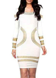 Menglihua Cut Out Kim Egypt Gold Foil Print Long Sleeves Cocktail Bodycon Dress White XLarge ** You can find more details by visiting the image link.