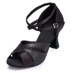 Kevin Fashion Women's Chunky High Heel Satin Glitter Cha Cha Dance Shoes ** Check out this great product.