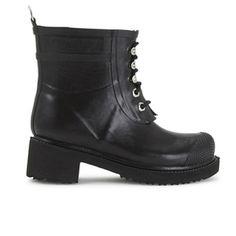 Ilse Jacobsen Women's Lace Up Ankle Rubber Boots - Black: Image 1