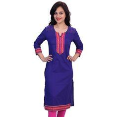 Blue Cotton Kurti - Satrangi Bazar