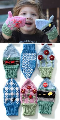 Knitting Pattern for Imagine Mittens - This pattern includes instructions for three different mittens (some with buttons, some without), and two versions of each mitten. Sizes 12 mo, 2 yrs, 6 yrs. (Obviously, don't use buttons for the baby mittens.) Designed by Cambria Washington