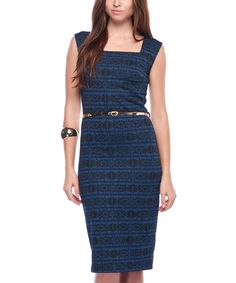 Another great find on #zulily! Scarlett Navy Blue Belted Square Neck Dress by Scarlett #zulilyfinds