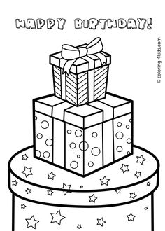 Gift boxes for birthday - Happy birthday coloring pages for kids, printable Easy Coloring Pages, Animal Coloring Pages, Printable Coloring Pages, Coloring Pages For Kids, Coloring Books, Kids Coloring, Adult Coloring, Christmas Present Drawing, Christmas Present Coloring Pages
