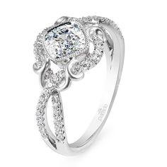 Platinum and diamond Lyria ring with cushion-cut diamond center stone, Parade Design