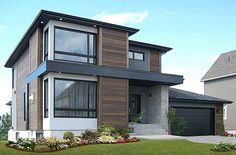 Stately Modern with Garage - 22322DR | Contemporary, Northwest, Canadian, Metric, Narrow Lot, Photo Gallery, 2nd Floor Master Suite, CAD Available, PDF | Architectural Designs
