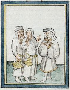 14th century hats for men, manuscript: BIF Ms. 09 Pèlerinage de Jésus-Christ, Folio 046, 1400, France