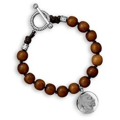 9 INCH Wood Bead MEN'S Bracelet with Indian by ForsgateJewelry, $44.89