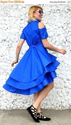 Just launched! SALE 20% OFF Blue Ruffled Dress,  Blue Flounce Dress, Cotton Dress, TDK245, Summer Dress,Short Sleeve Dress, Royal Blue Dress https://www.etsy.com/listing/507222586/sale-20-off-blue-ruffled-dress-blue?utm_campaign=crowdfire&utm_content=crowdfire&utm_medium=social&utm_source=pinterest