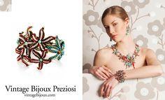 Vintage Bijoux Preziosi  www.vintagebijoux.com     collana, bracciale ed orecchini con corallo, pietre semipreziose, perle di acqua dolce e bronzo