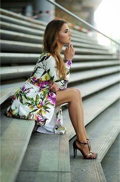 street style floral dress