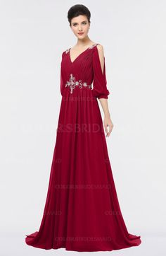 Scooter Mature A-line V-neck Zip up Sweep Train Beaded Bridesmaid Dresses (Style Dark Red Bridesmaid Dresses, Bridesmaid Dress Styles, Prom Dresses, Formal Dresses, Graduation Dresses, Red Wedding Gowns, Best Wedding Dresses, Wedding Suits, Trendy Wedding