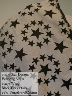 BWI of DC-MD-VA: Shiny Star Wovens Wrap Everlong Sirius (black/grey stars) Tencel/Cotton Blend Size 7