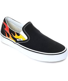 3e5a54ce26c Vans Slip-On Flame Black   White Skate Shoes