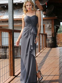 be60b3f68d 2016 Spaghetti Straps Long Chiffon Davinci Bridesmaid Dress 60207 Natural Bridesmaids  Dresses
