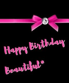 Happy Birthday beautiful black & pink bow - Original by lechezz - LARGE