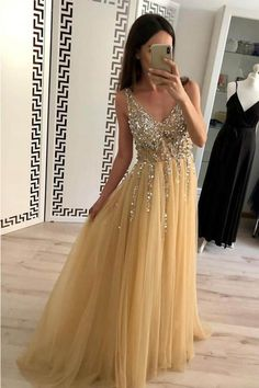 Charming A Line Tulle V Neck Floor Length Prom Dresses Beads Sequins Backless Prom Dresses, V-neck Prom Dresses, Sleeveless Prom Dresses, Champagne Prom Dresses, Sequin Prom Dresses Prom Dresses 2020 Sequin Evening Dresses, Sexy Evening Dress, Prom Dresses For Teens, Beaded Prom Dress, Backless Prom Dresses, A Line Prom Dresses, Cheap Prom Dresses, Formal Dresses, Prom Gowns