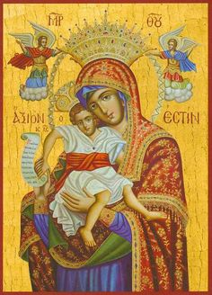 """""""It Is Truly Meet"""") icon of the MostHoly Mother of God. Name comes from the eponymous hymn composed or at least delivered to the church by Holy Archangel Gabriel. Religious Images, Religious Symbols, Religious Art, Verge, Archangel Gabriel, Queen Of Heaven, Irish Catholic, Best Icons, Holy Mary"""