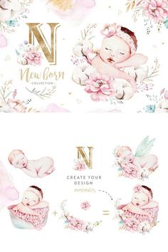 Very cute set of hand painted watercolour illustrations - includes more than 43 individual elements, 4 bouquets, 6 newborn baby illustrations, 5 wreaths, patterns. Baby Illustration, Watercolor Illustration, Baby Wallpaper, Iphone Wallpaper, Baby Clip Art, Baby Drawing, Printable Designs, Happy Baby, Baby Cards