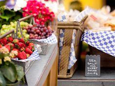 Close up of farmer's market reception setup