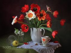 With a bouquet of spring flowers от Tatiana Skorokhod