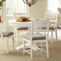 Lowest price online on all American Drew Lynn Haven Round Wood Dining Table in White - 416-701R