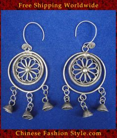 Tribal Silver Earrings Chinese Ethnic Hmong Miao Jewelry #328 Uniquely Handmad http://www.chinesefashionstyle.com/earrings/