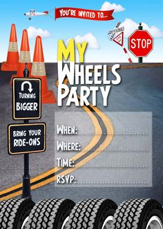 FREE Kids Party Invitations: Wheels Invitation