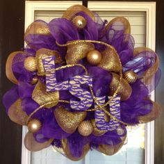 mesh wreaths LSU | Lsu deco mesh wreath | Deco Mesh