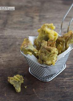 Receta de Alcachofas en tempura de azafrán.Receta con fotos del paso a paso y sugerencias de presentación.Trucos y consejos de elaboración.Recet...