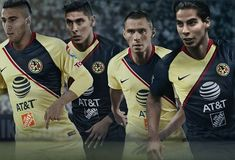 Club América home and away kits from Nike. Liga Soccer, Goalkeeper Kits, Top League, World Soccer Shop, Football Fashion, Soccer Kits, Professional Football, Home And Away, Baseball Cards