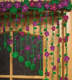 Crocheted curtain at the doorway with flowers violets, Violet curtain, thread curtain, floral curtai Cute Crochet, Crochet Crafts, Yarn Crafts, Crochet Projects, Diy And Crafts, Knit Crochet, Crochet Flower Tutorial, Crochet Flowers, Crochet Table Mat