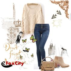 Simple cream jumper with jeans