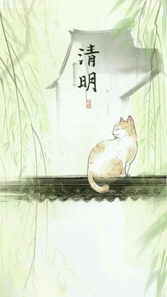 Chat Estampe asiatique inconnue
